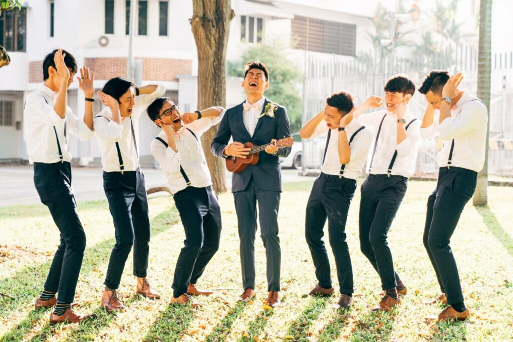 groom playing music