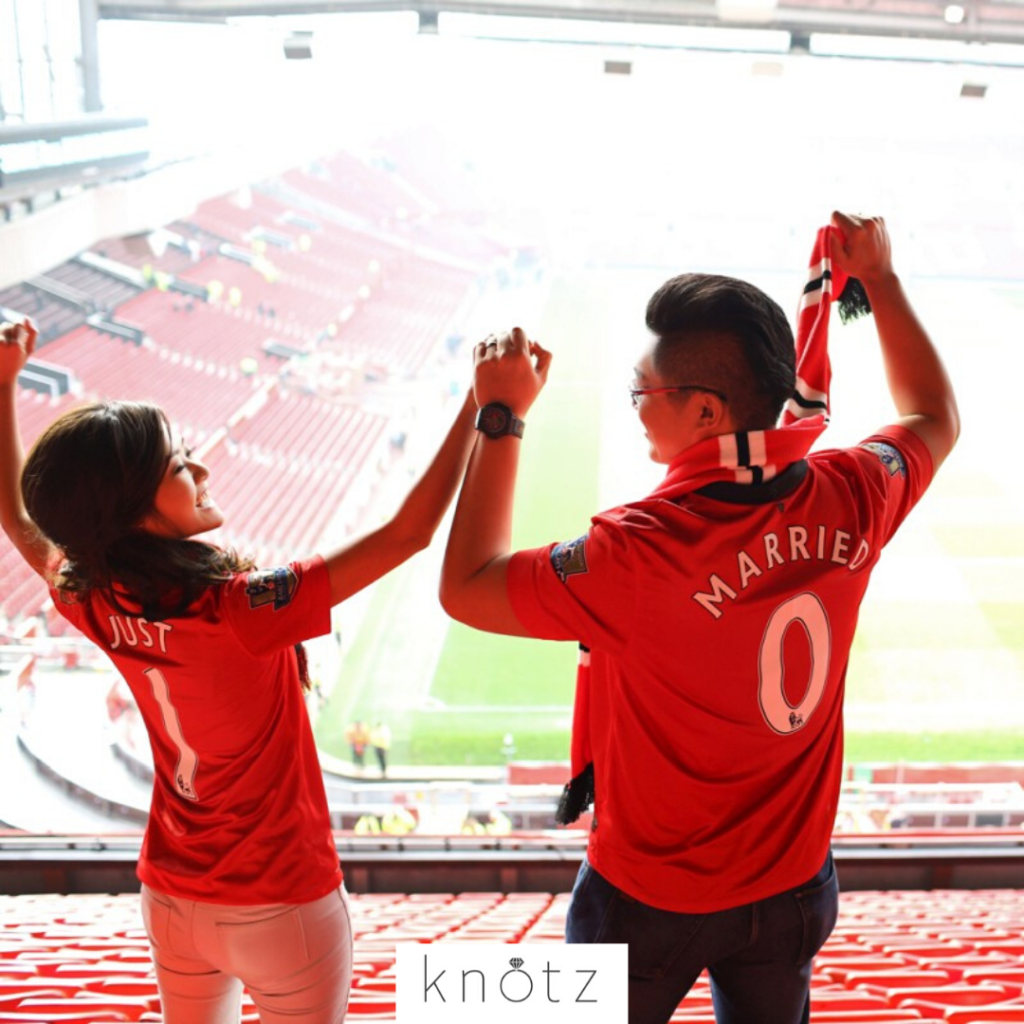 football manchester united stadium pre-wedding couple shoot