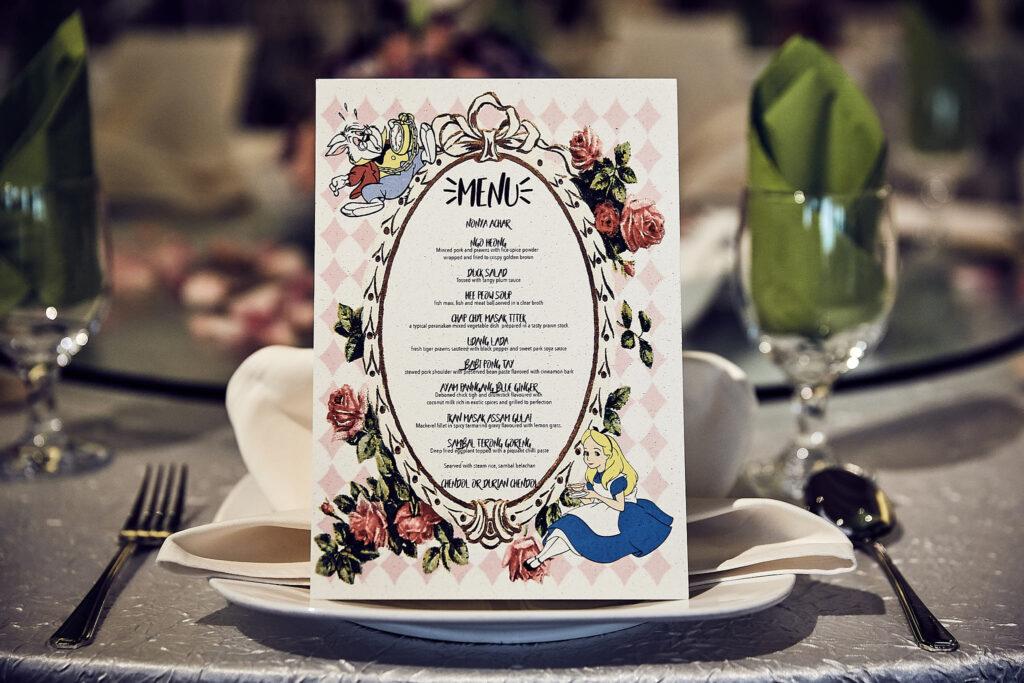 The Blue Ginger customised wedding menu