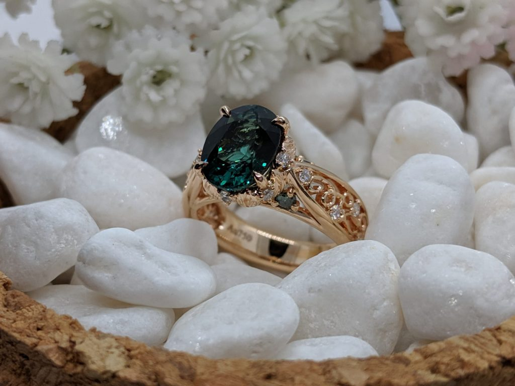 bespoke engagement ring with tourmaline
