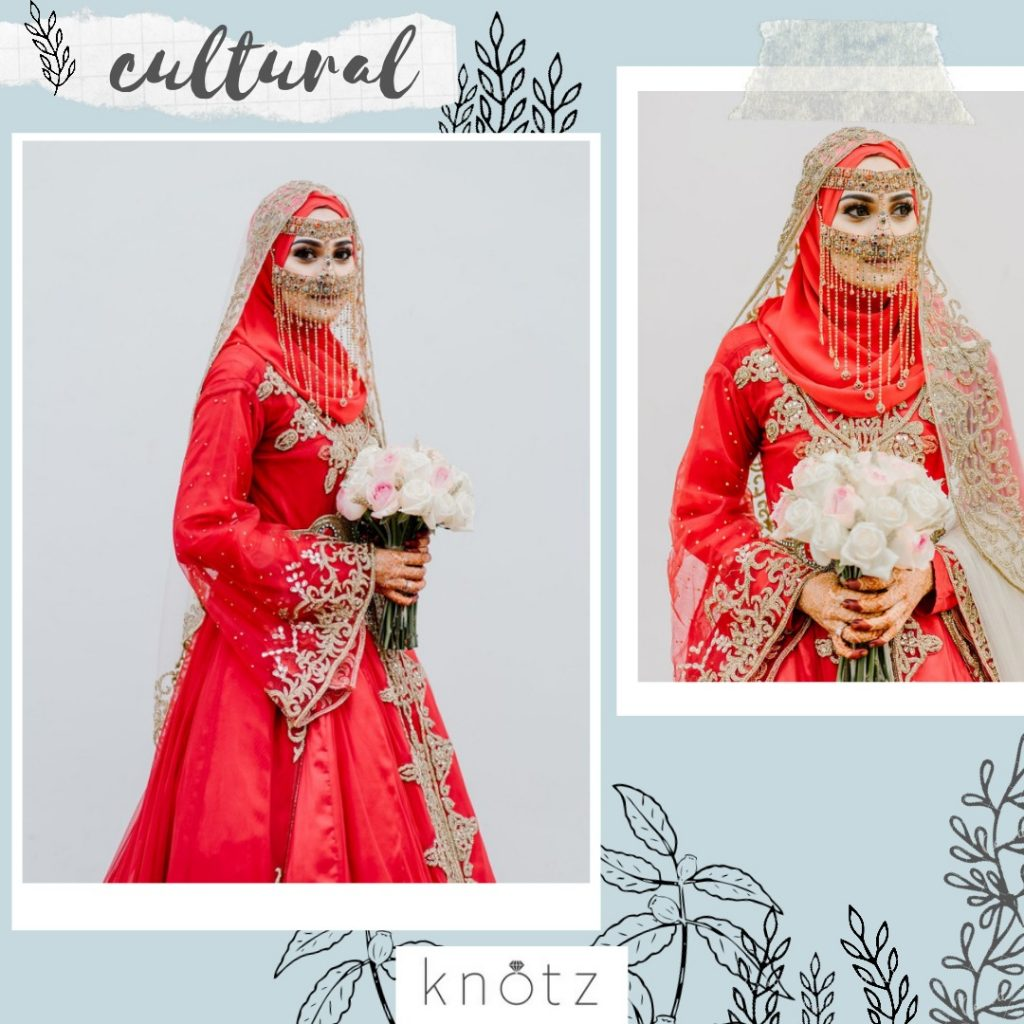 red Arabic inspired wedding dress