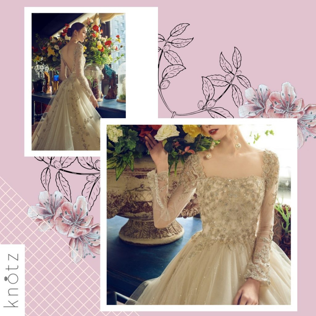 champagne-coloured ballgown