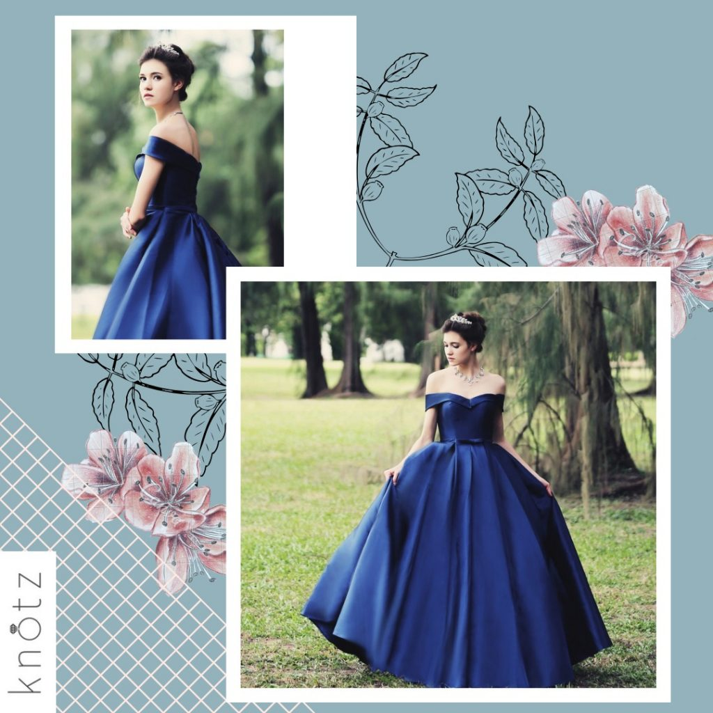 blue off shoulder ballgown