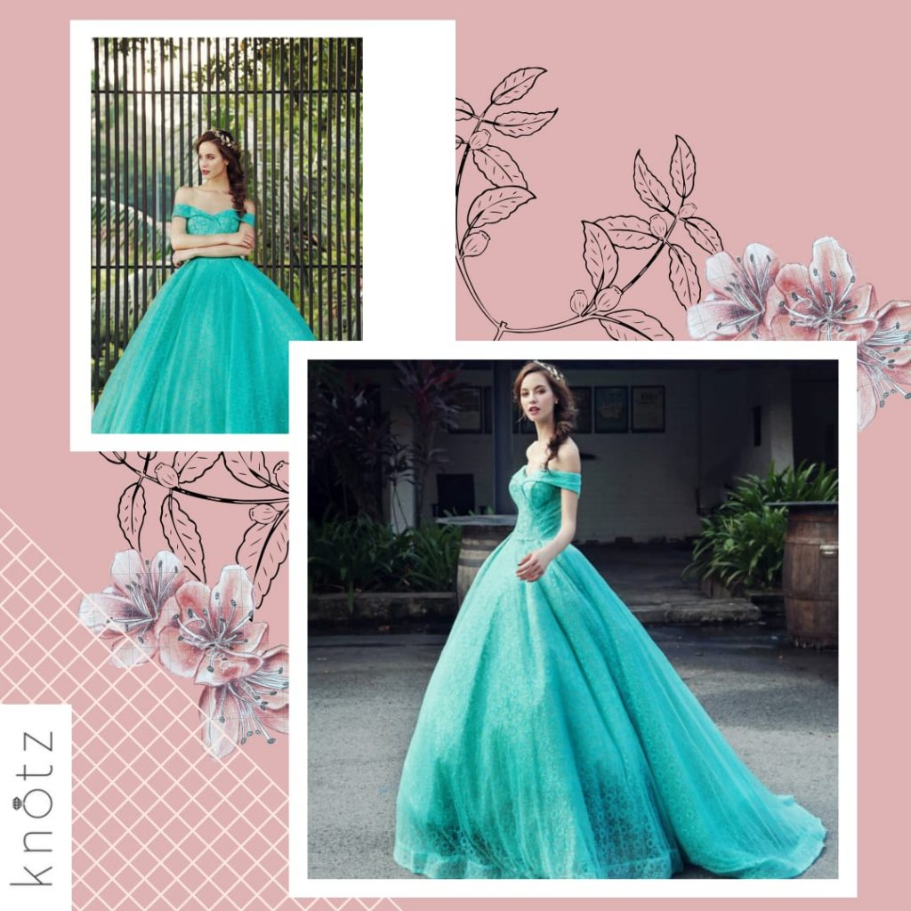 off the shoulder aqua ballgown